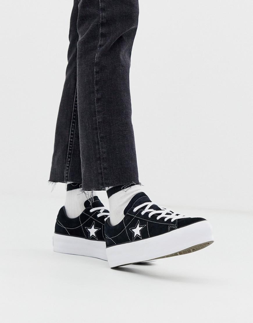 Converse Suede One Star Black Platform