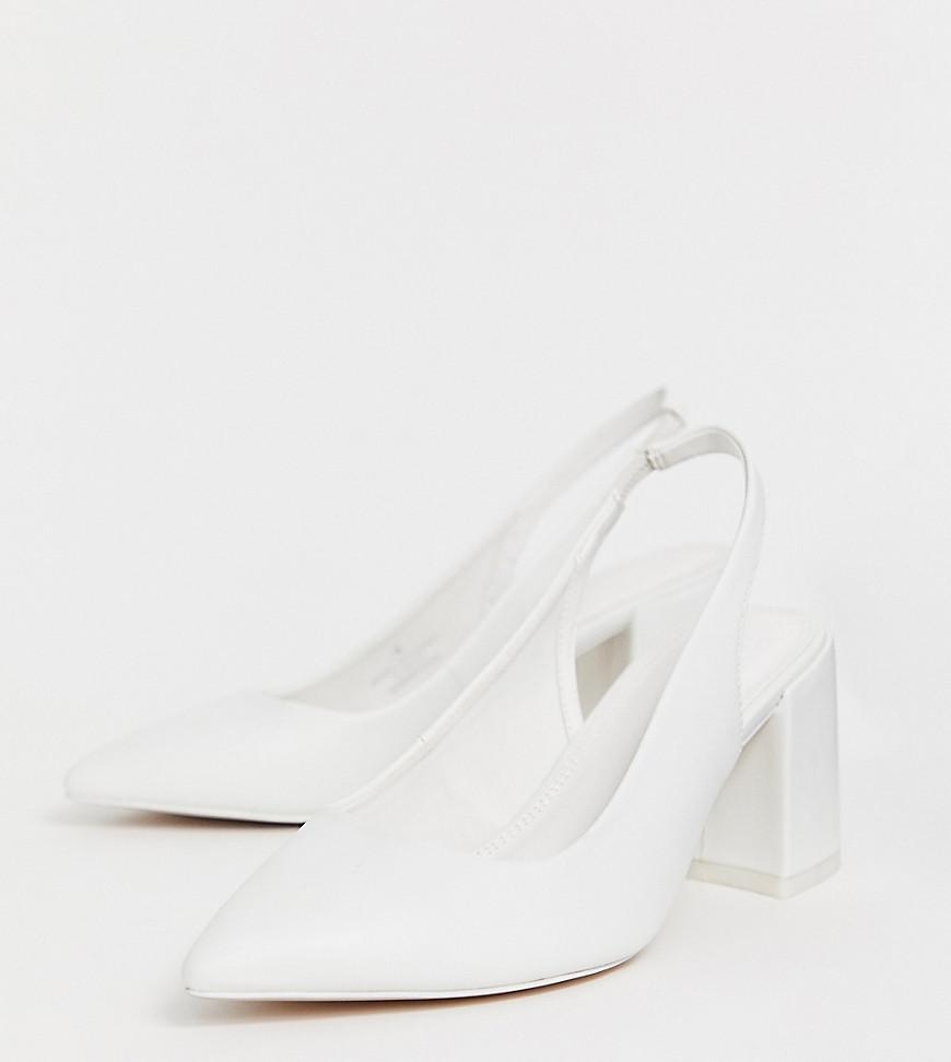 check out save up to 60% buying new Wide Fit Samson Slingback Mid Heels In White