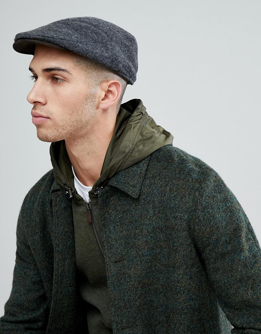 c4e560a98725c Polo Ralph Lauren Wool Flat Cap Suede Trim In Charcoal Marl in Gray ...