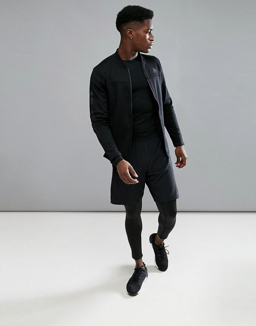 Jack & Jones Synthetic Tech Longline Bomber Jacket In Jersey in Black for Men