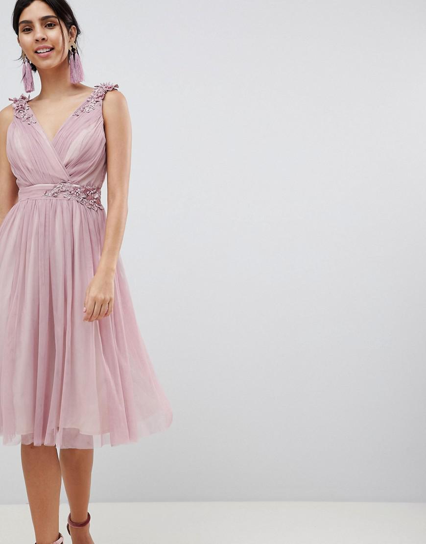 45a850c6ff7ec Little Mistress Blush Mesh Wrap Front Midi Dress in Pink - Lyst