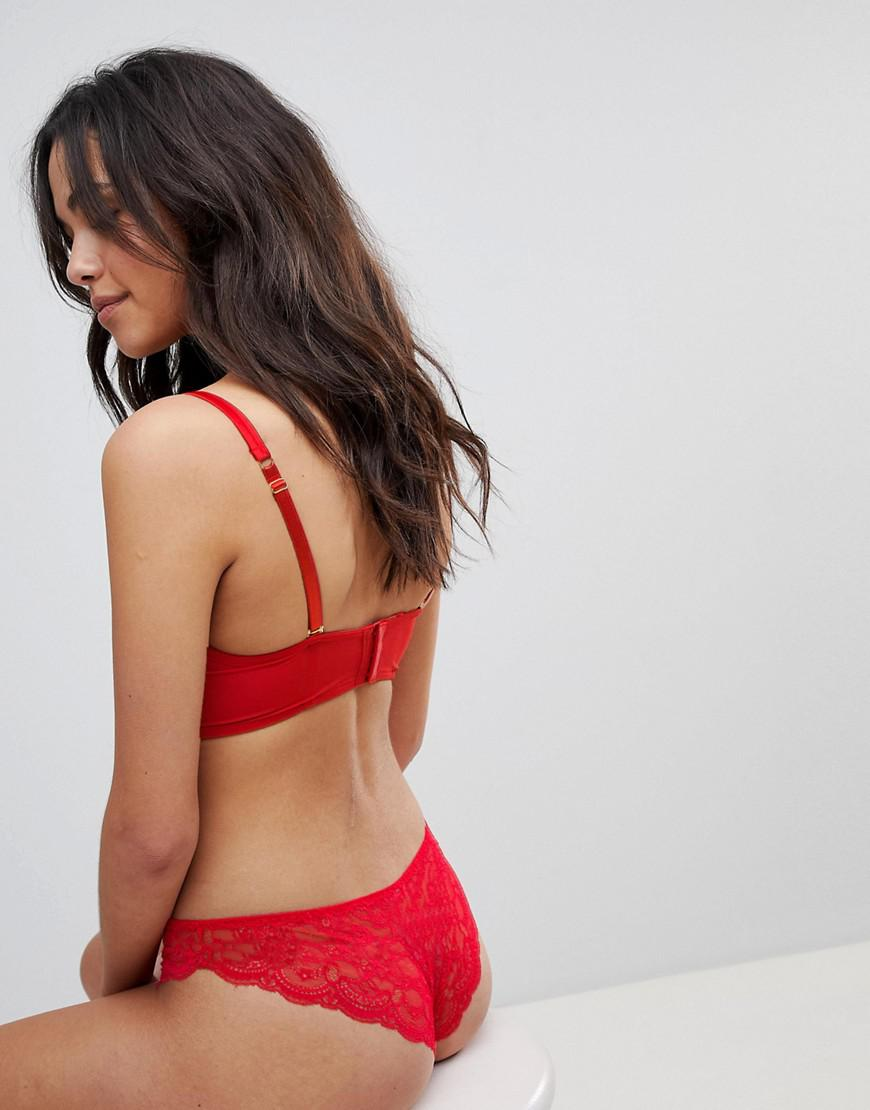 6946e1602bd94a Lyst - Ann Summers Embroidered Rose Bralette in Red