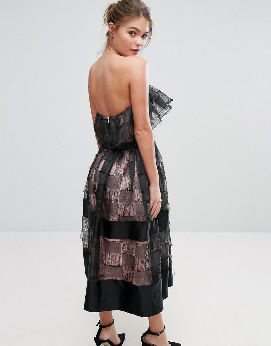 True Violet Ruffle 3d Texture Strapless Midi Dress In
