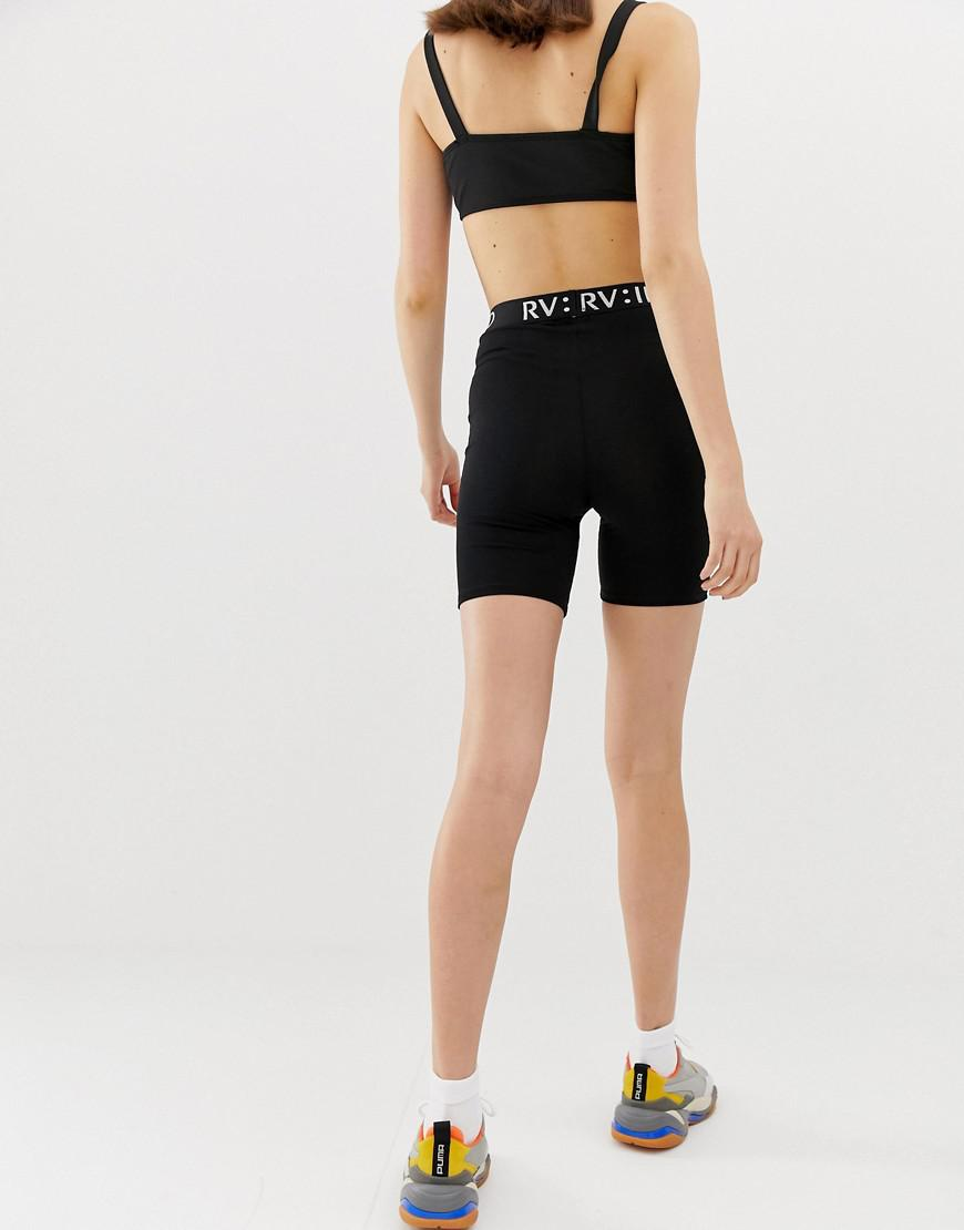 9aac65fa318093 River Island legging Shorts With Tape Waistband In Black in Black - Lyst