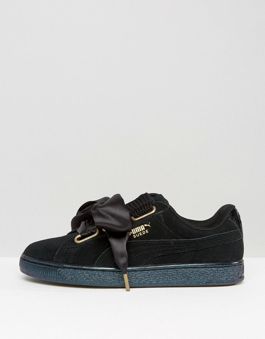 d3e16f66dd7 PUMA Basket Heart Sneakers In Black Velvet in Black - Lyst
