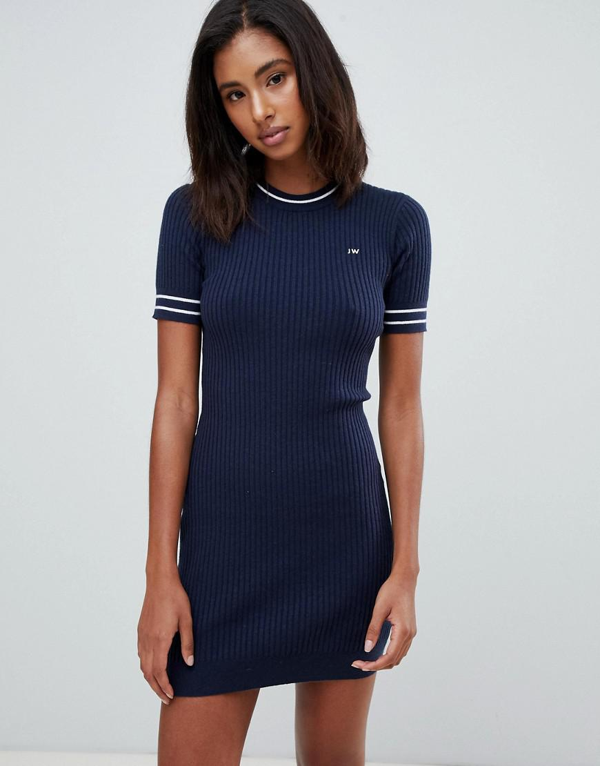 6c153419ef9 Jack Wills Cable Knit Dress With Tipping in Black - Lyst