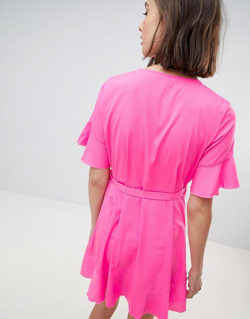 d597cb4d086d Vero Moda Flutter Sleeve Wrap Dress in Pink - Lyst