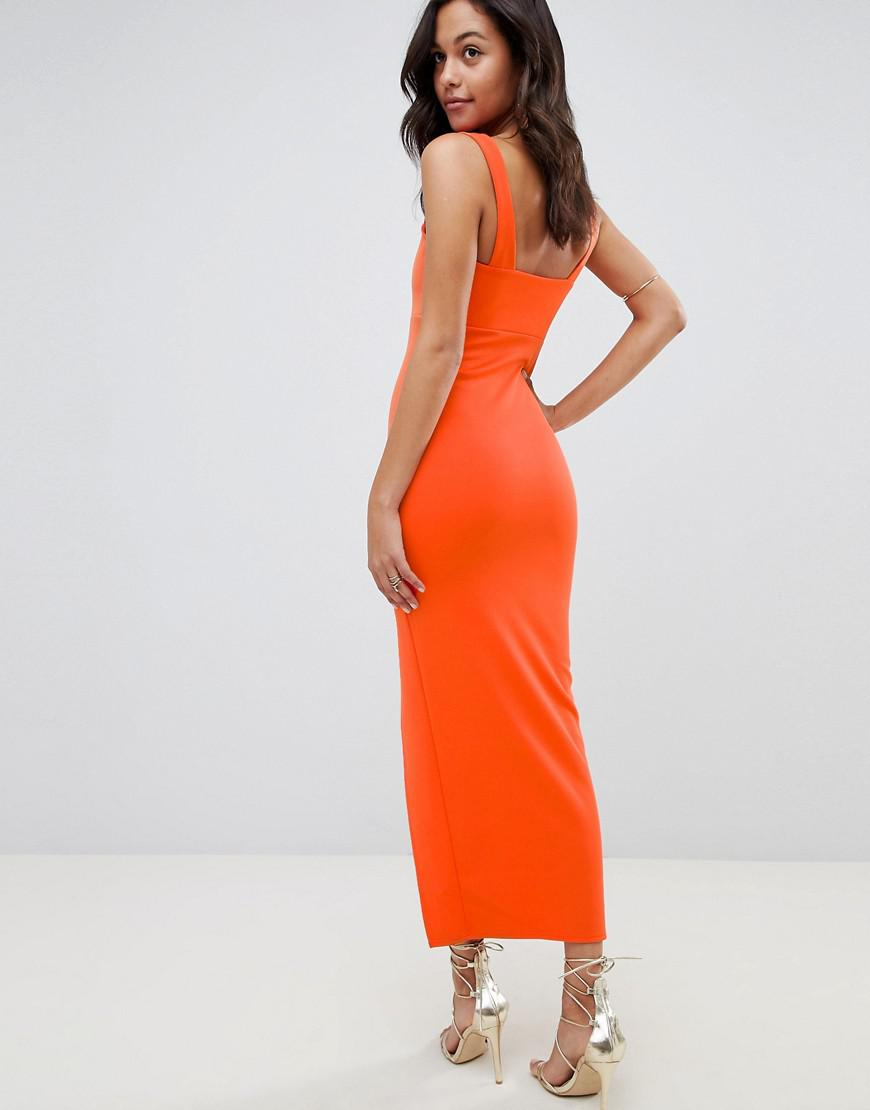 bd3ca90113e41 Lyst - ASOS Square Neck Scuba Maxi Dress With Thigh Split in Orange