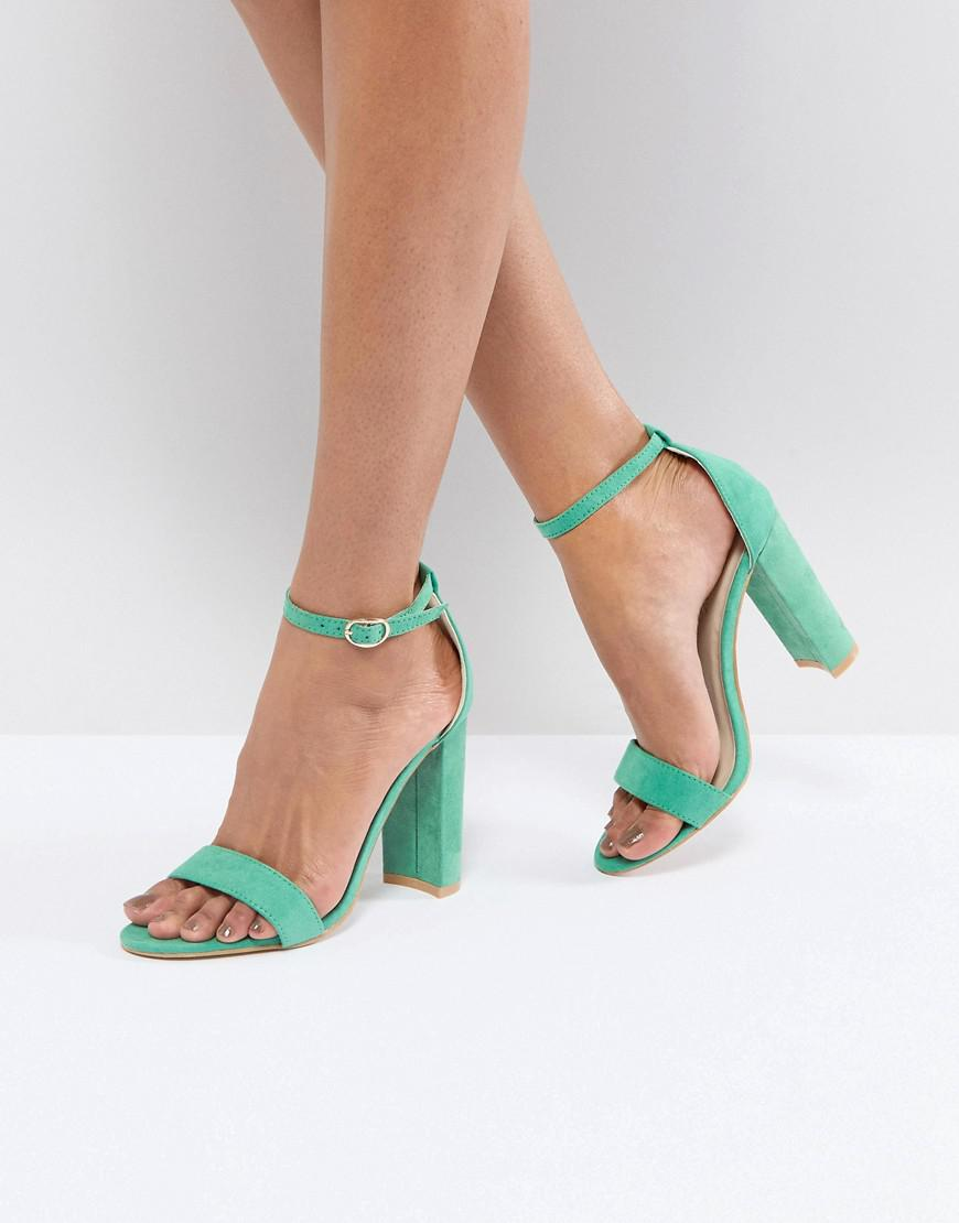 68779faafbd5 Glamorous Green Barely There Block Heeled Sandals in Green - Lyst