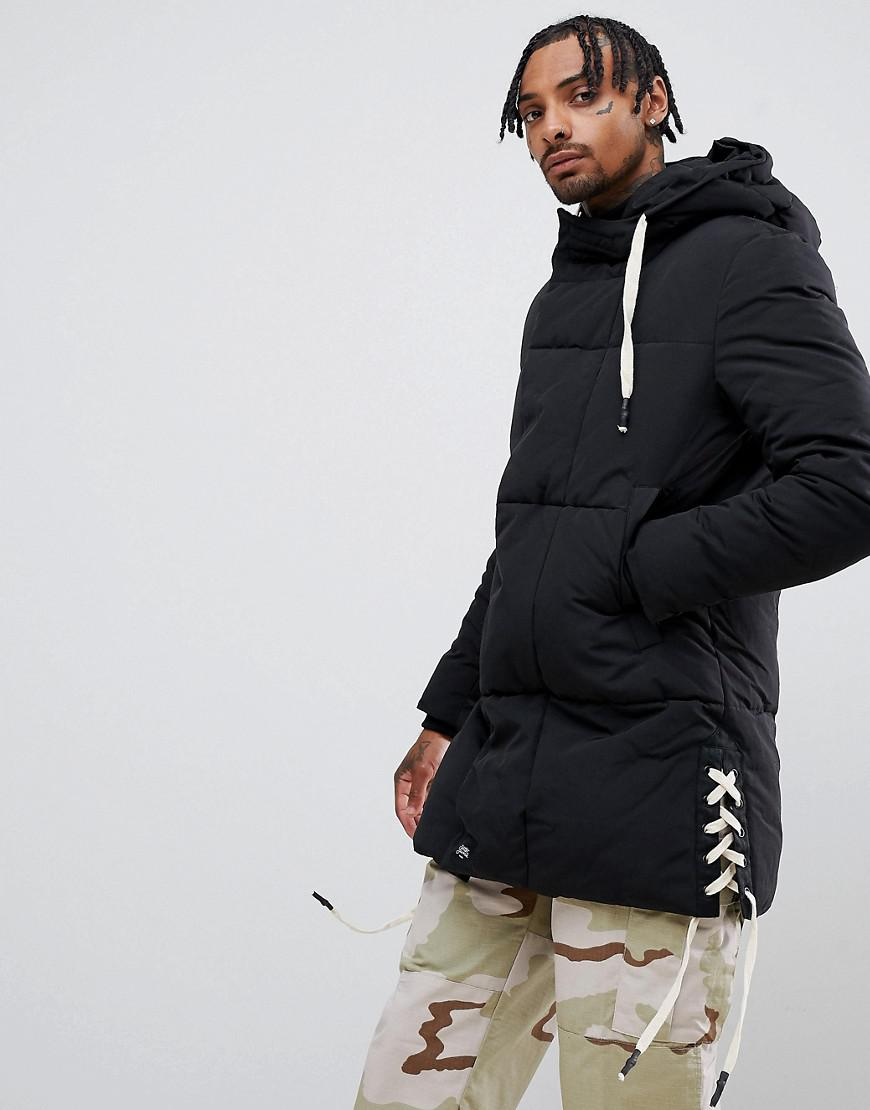 194f104f2cc43 Lyst - Sixth June Puffer Jacket With Side Detail In Black in Black ...
