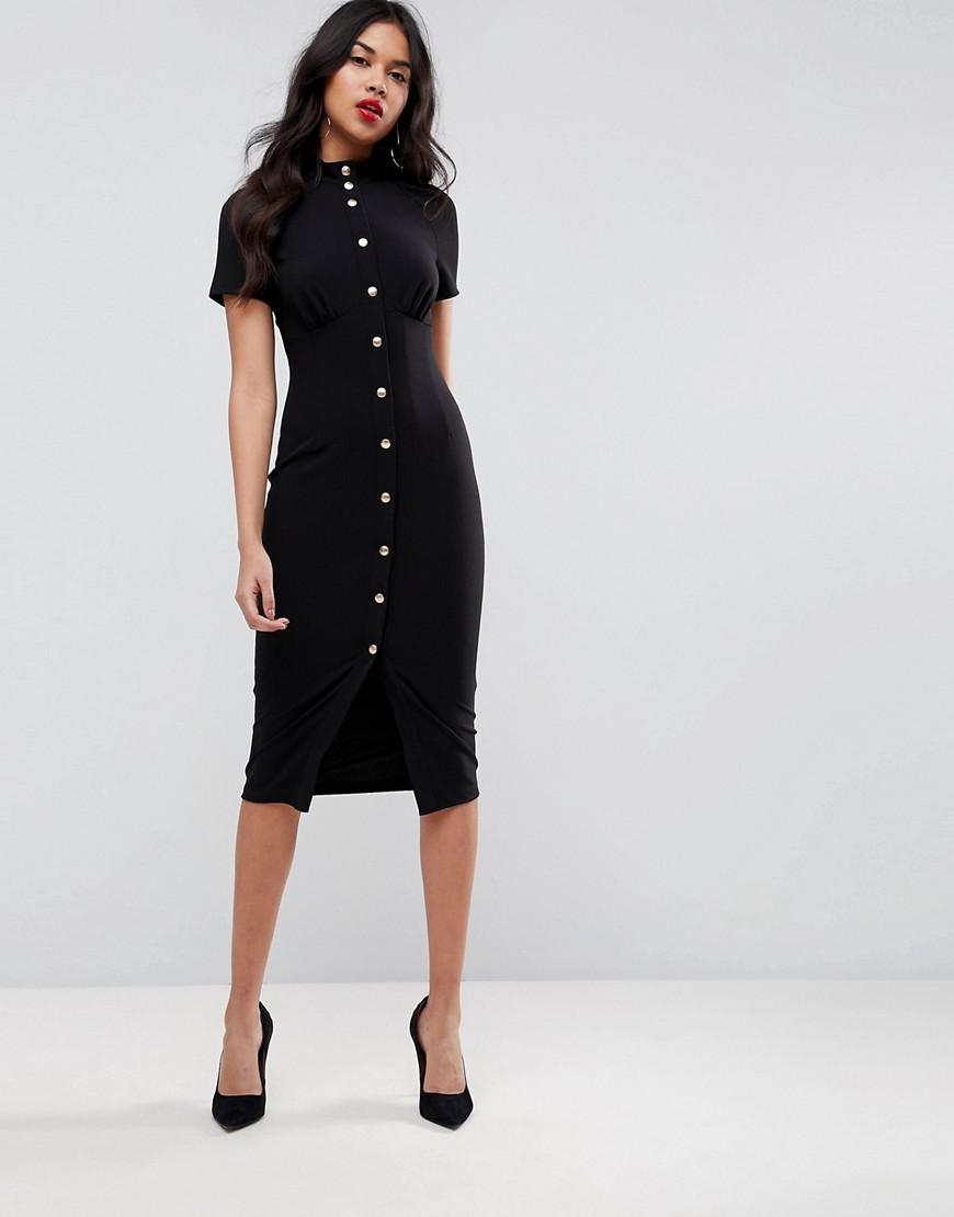 4471ea1ac2 ASOS Asos Corset Midi Dress With High Neck   Popper Details in Black ...