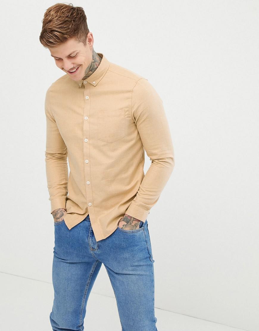 750eeed9fe Lyst - ASOS Regular Fit Flannel Shirt In Camel in Brown for Men