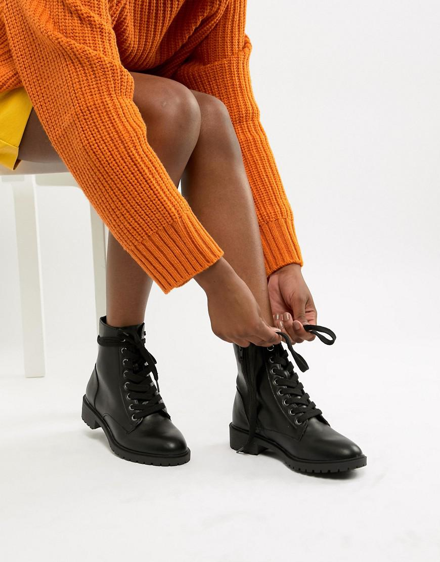 New Look Lace Up Flat Boot in Black - Lyst