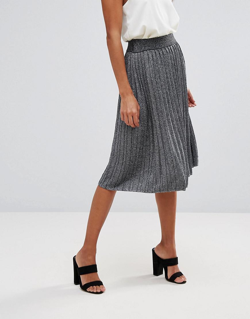 f08efc5e0b9e Vero Moda Glitter Pleated Midi Skirt in Gray - Lyst