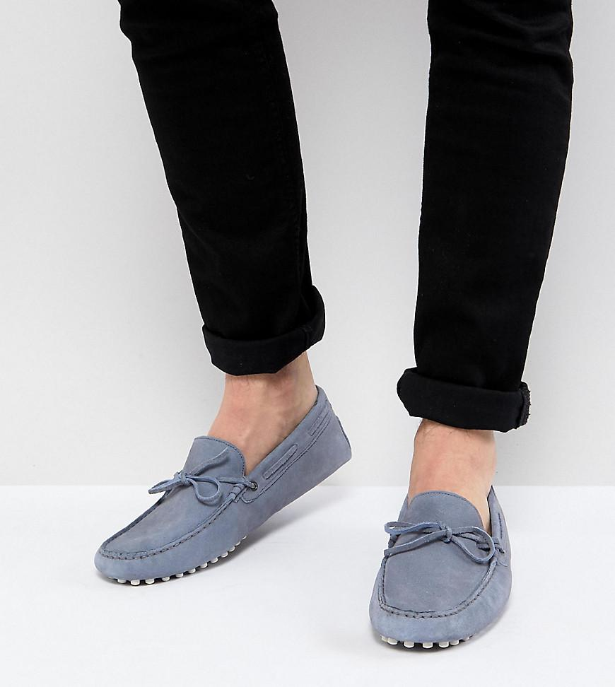 DESIGN Wide Fit Driving Shoes In Blue Suede With Tie Front - Blue Asos Cheap Sale Comfortable vYFFNcHV