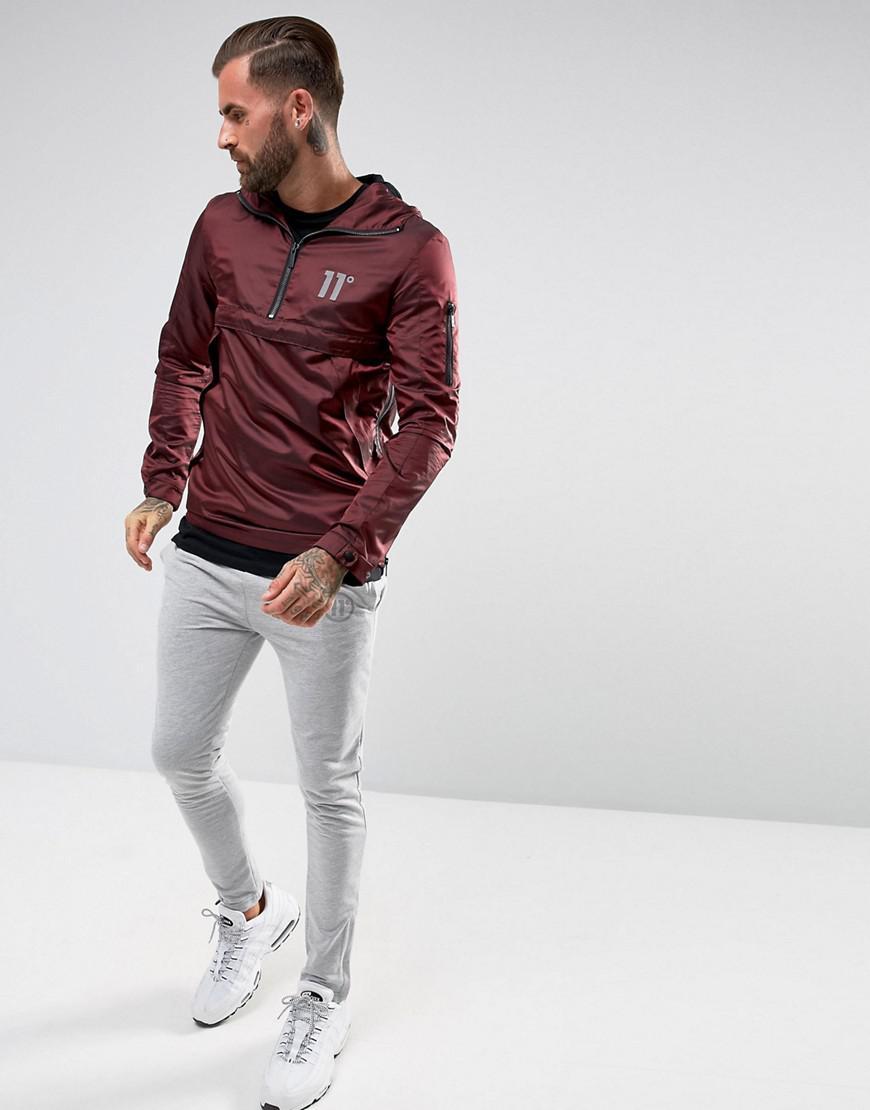 11 Degrees Synthetic Overhead Windbreaker Jacket In Burgundy in Red for Men