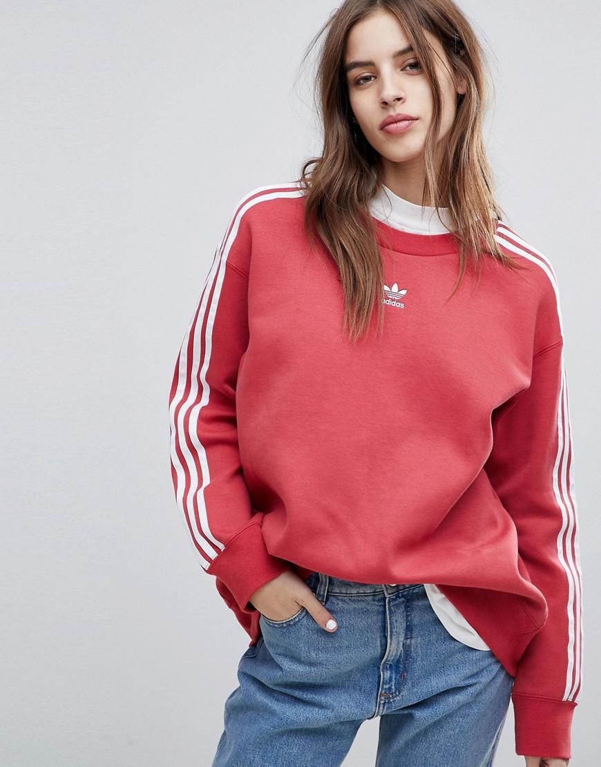99780c7f2f72 adidas Originals Originals Adicolor Three Stripe Sweatshirt In Red ...