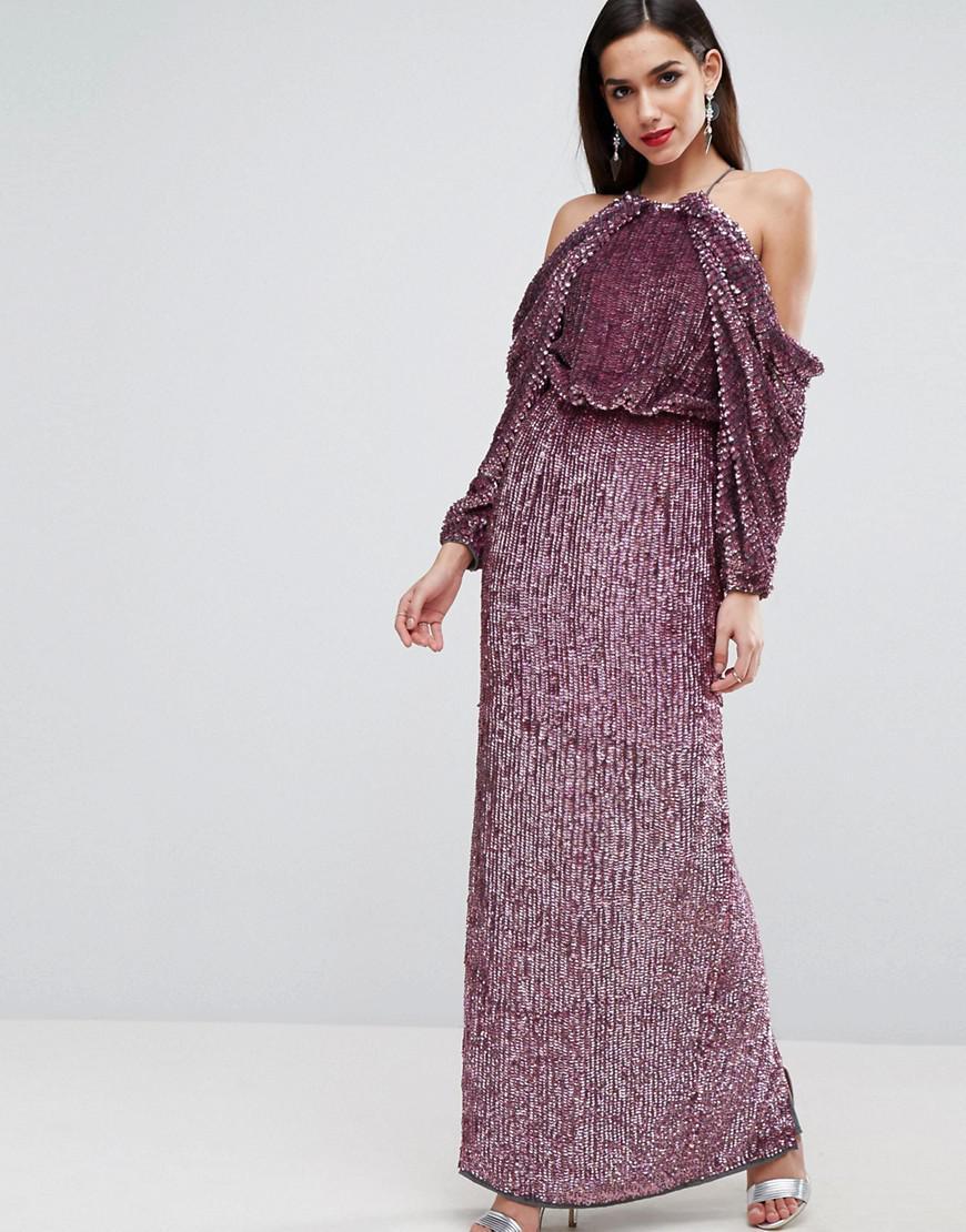 Lyst - Asos Red Carpet Embellished Drape Front Kimono Maxi Dress in ...