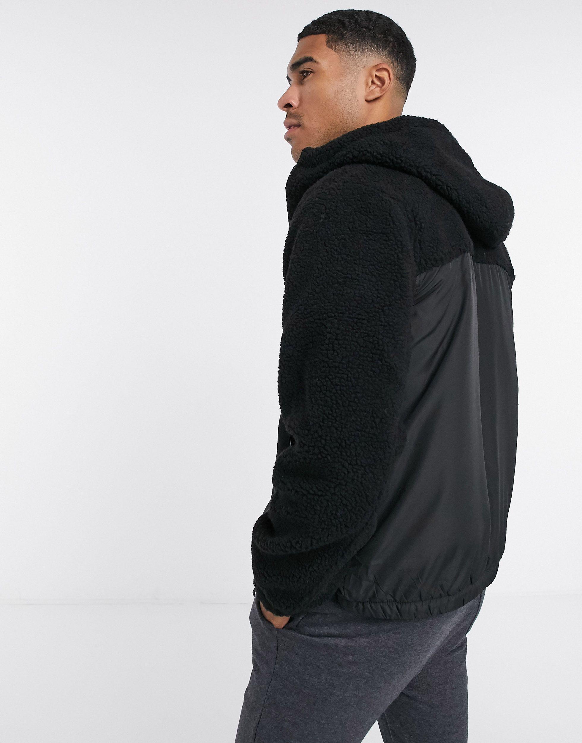 Mens Brave Soul BORG HOODIE Sherpa FLEECE lined Zip Up Hooded Coat Track Jackets