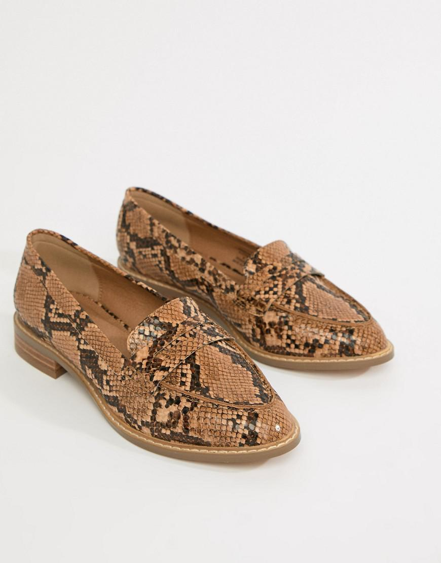 b5bd9492c23d Lyst - ASOS Wide Fit Munch Loafer Flat Shoes In Snake