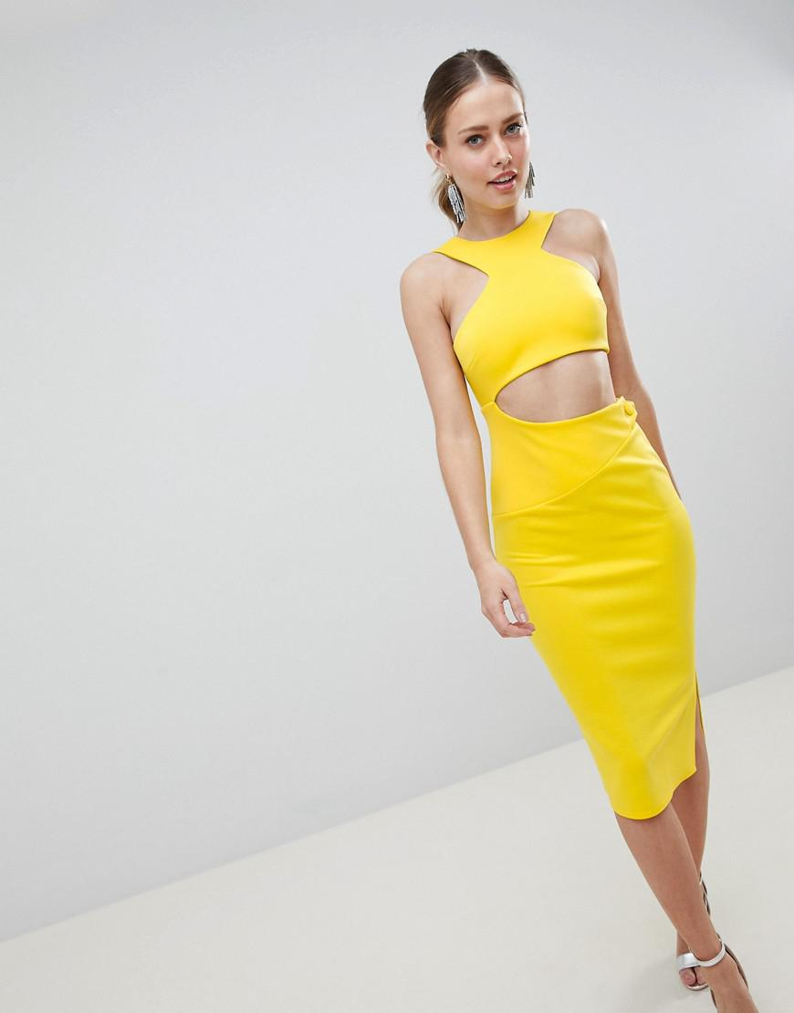 fd08a009d254 ASOS Cut Out Button Midi Dress in Yellow - Lyst