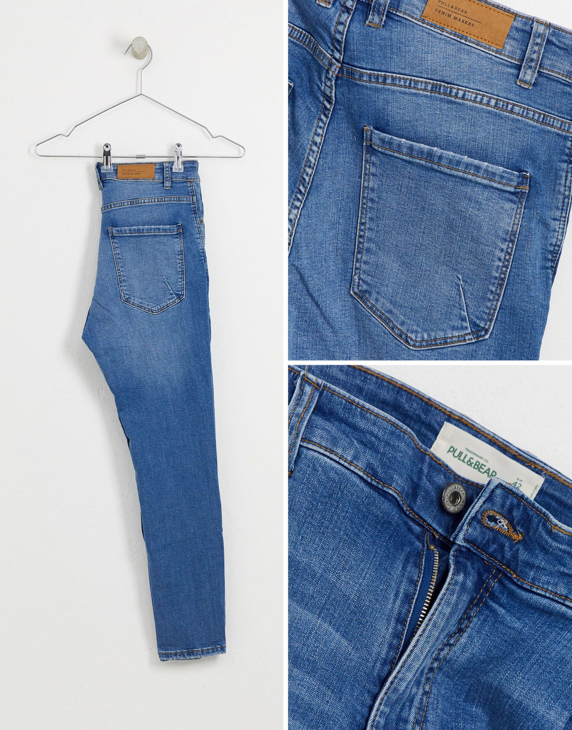 Pull&Bear Denim Join Life - Smaltoelopende Jeans Met Blauwe Wassing in het Blauw voor heren