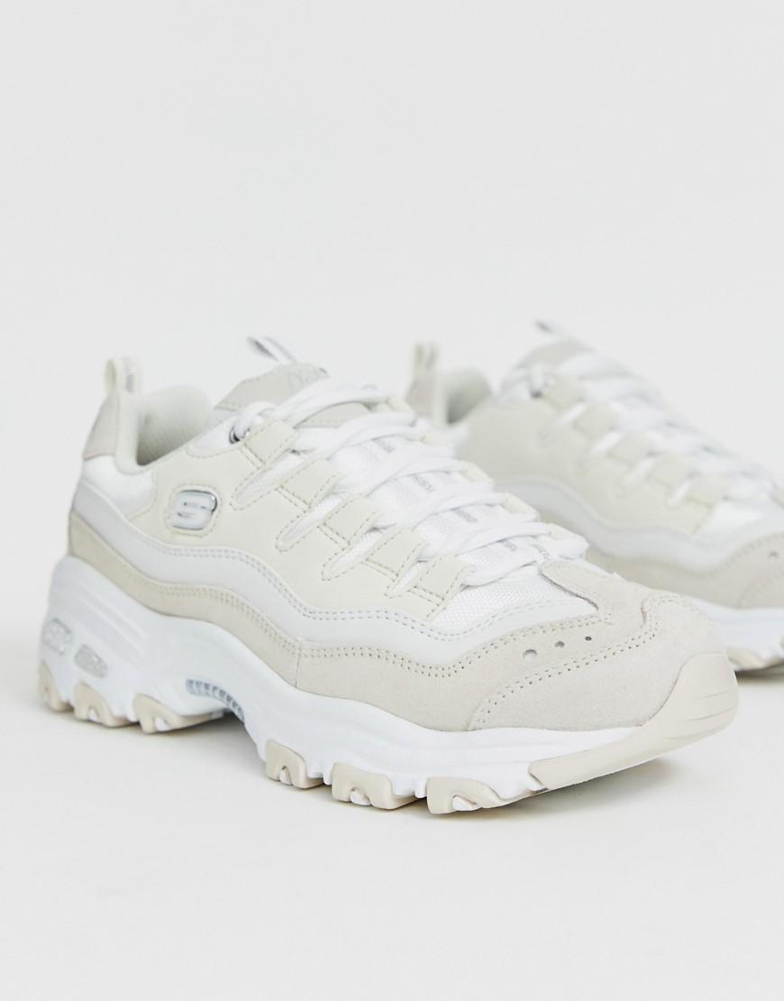 comprar lujo últimas tendencias de 2019 seleccione original Skechers Leather D'lite Chunky Trainers in White - Lyst