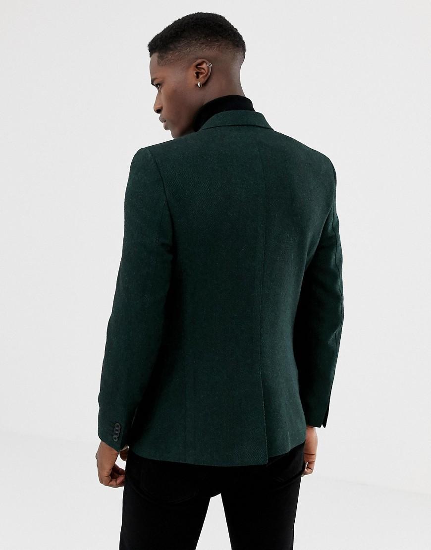 ASOS Wol Skinny Blazer Van Groene Wolmix in het Groen voor heren