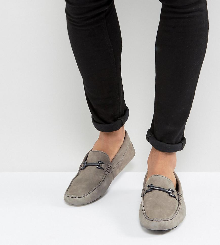 Wide Fit Loafers In Black Faux Suede With Snaffle Detail - Black Asos TwhtoF