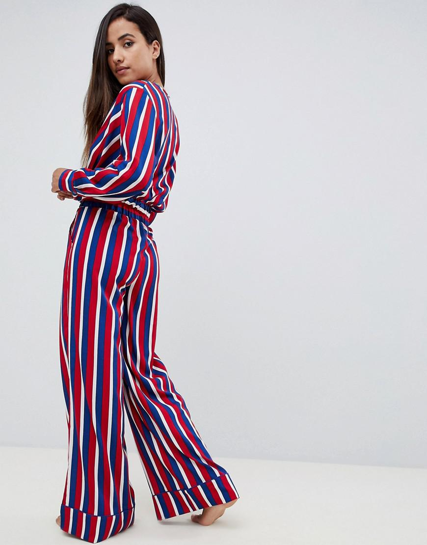 a31a3b826521bb Asos Wrap Over Stripe Blouse And Wide Leg Trouser Pyjamas in Red - Lyst