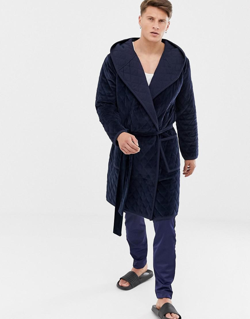 Lyst - Asos Dressing Gown In Quilted Velvet in Blue for Men 9b8efe02d