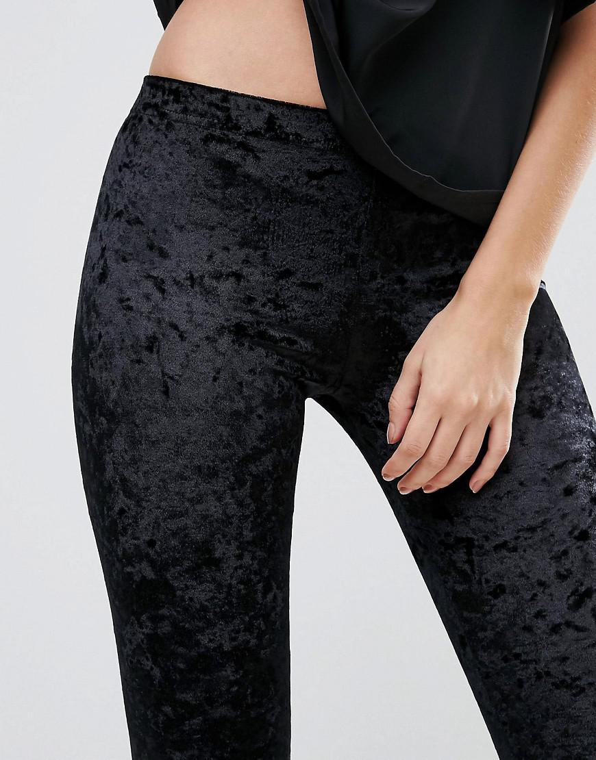1a906313423d13 Club L Crushed Velvet Leggings in Black - Lyst
