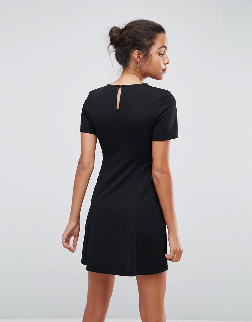 Lyst - ASOS Asos Lace Insert Mini Skater Dress With Corset in Black d9e0b6c00