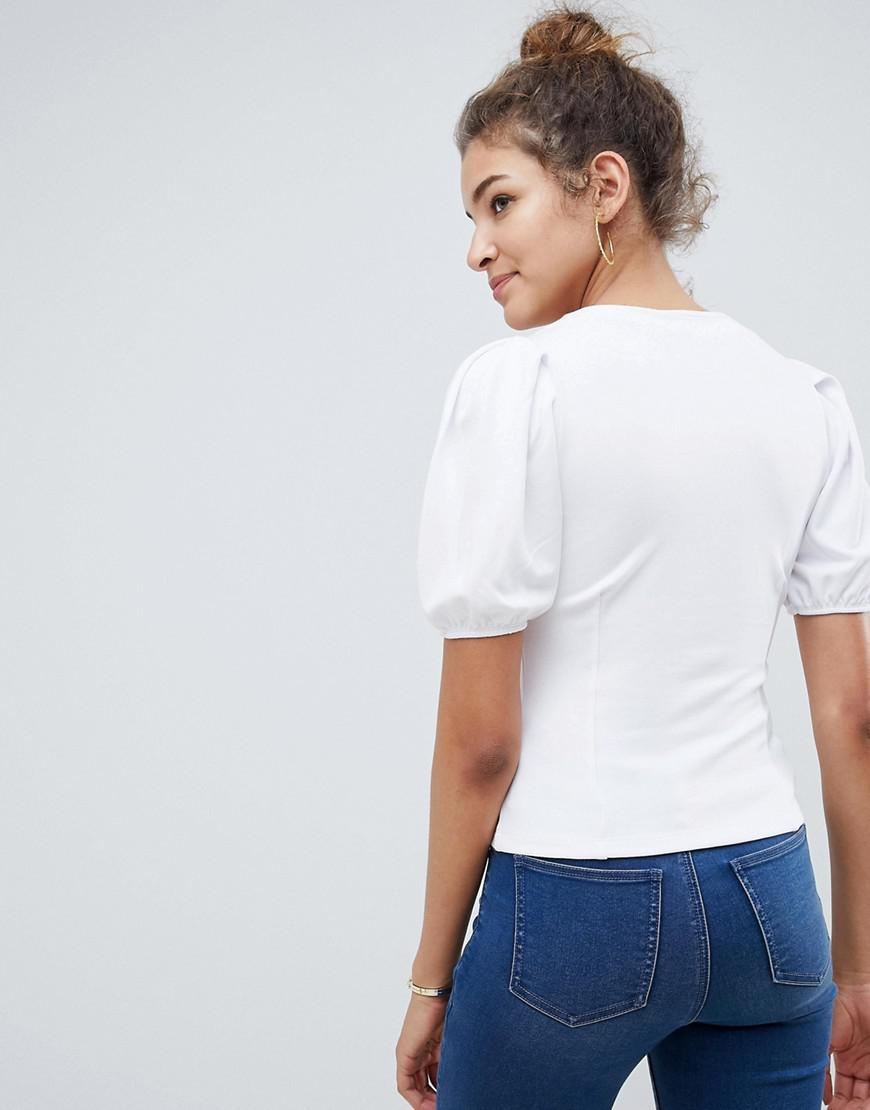 7e7d6344a Lyst - ASOS Ponte Puff Sleeve Top With Corset Detail in White