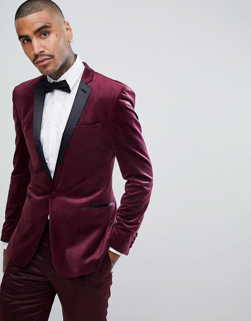 Lyst Asos Super Skinny Blazer In Burgundy Velvet In Red