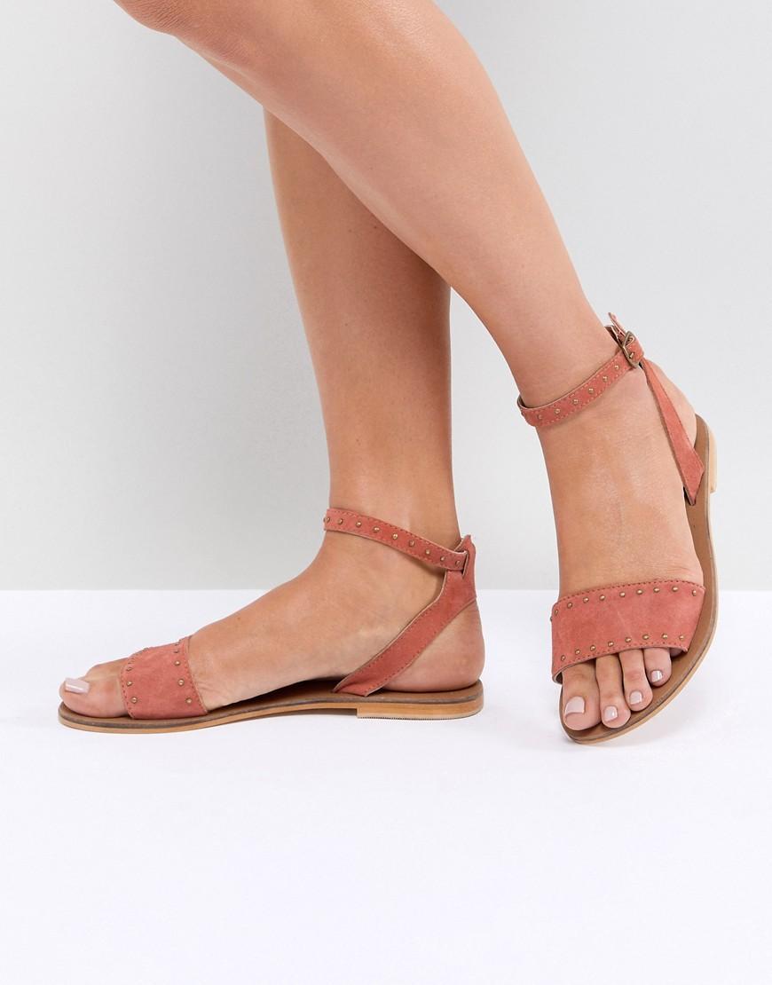 Cuero Freja Color Asos Planas Tachuelas Con Sandalias De Rojo KJc13TFlu