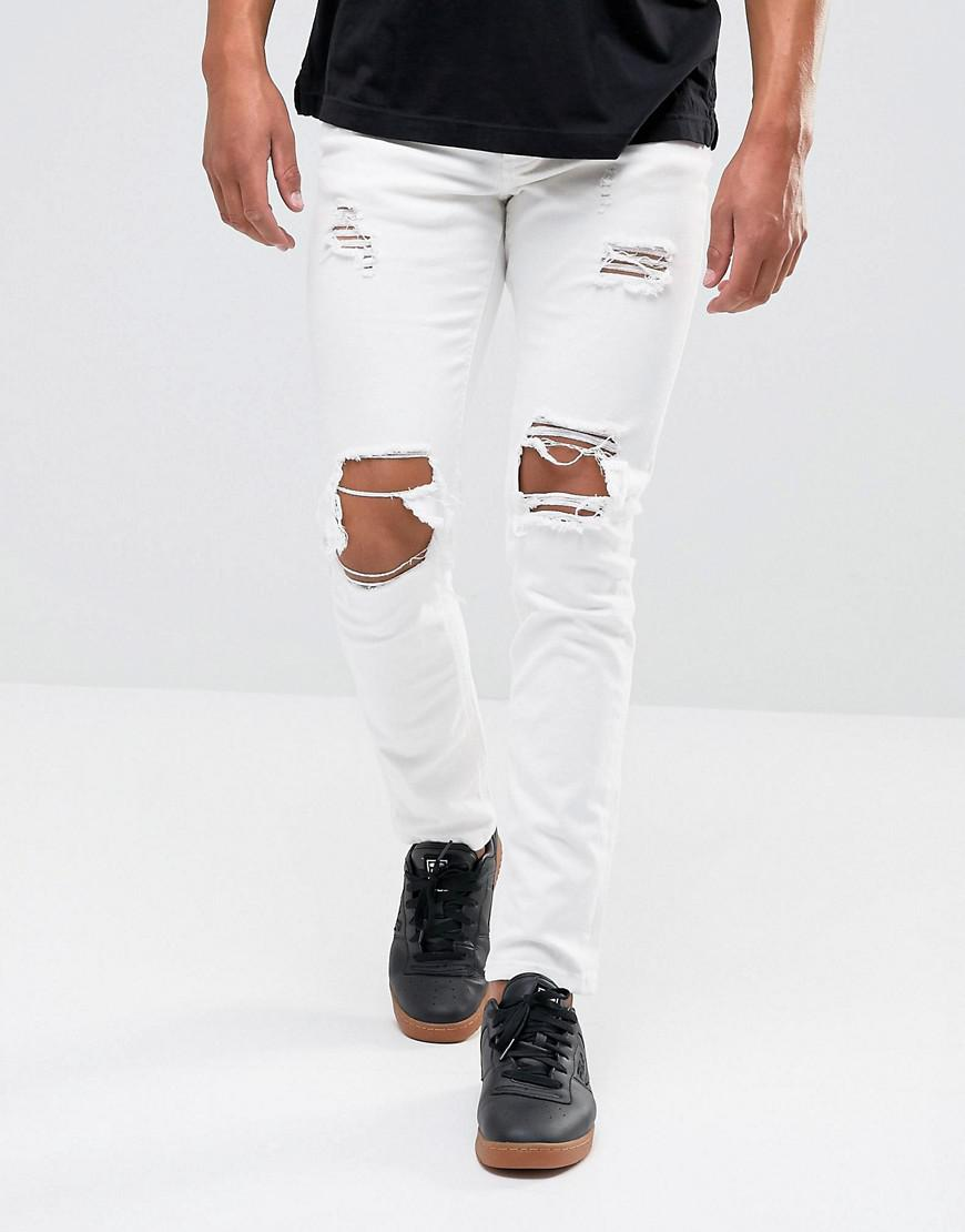 Super Skinny Jeans In White With Knee Rips - White Mennace 25aRBKuA