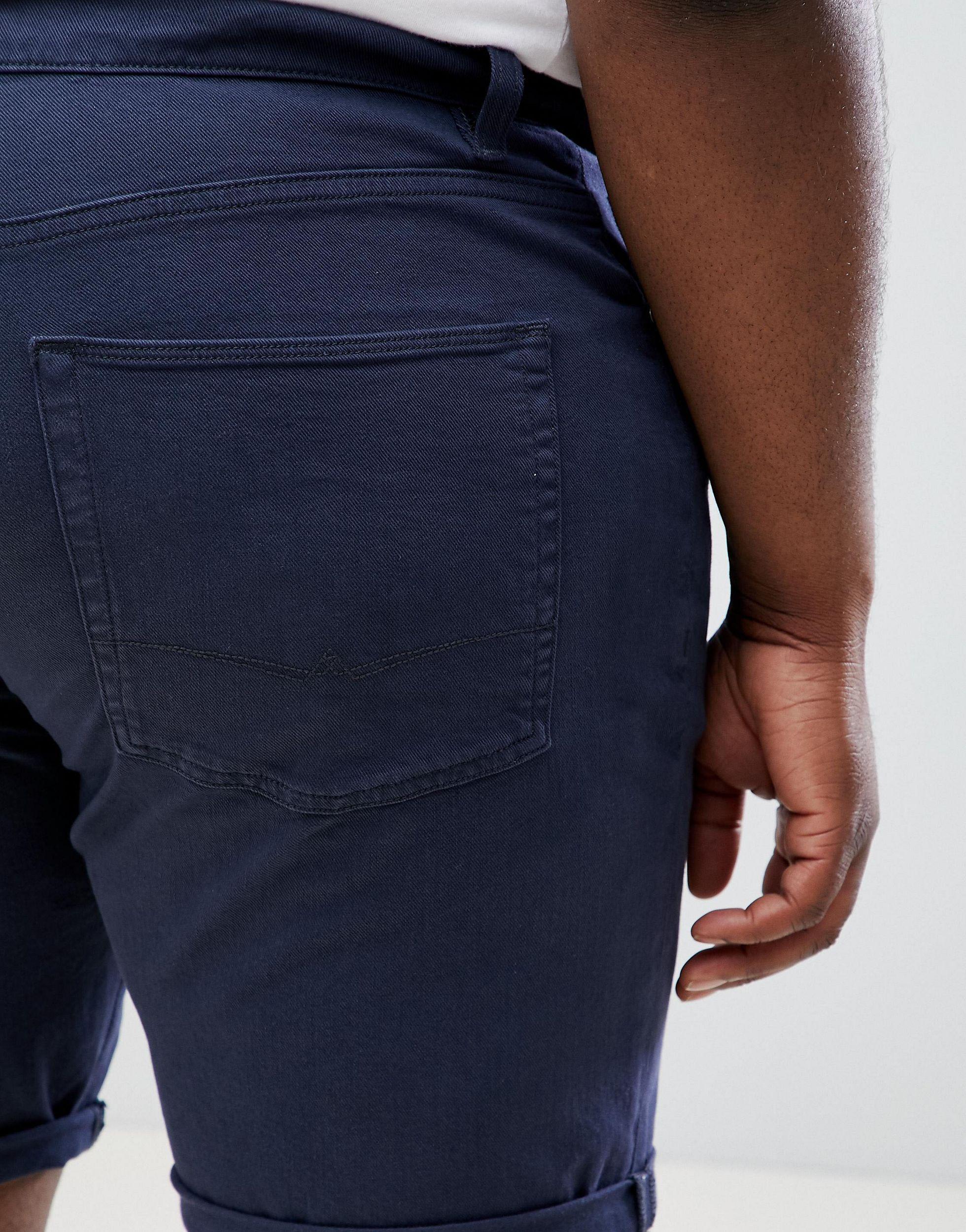 ASOS Plus- Smalle Denim Short in het Blauw voor heren
