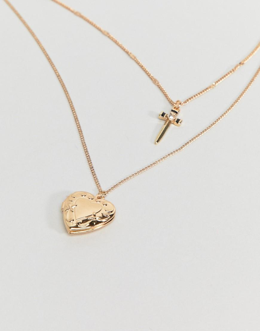 ASOS Denim Vintage Style Dagger And Heart Locket Pendant Multirow Necklace in Gold (Metallic)