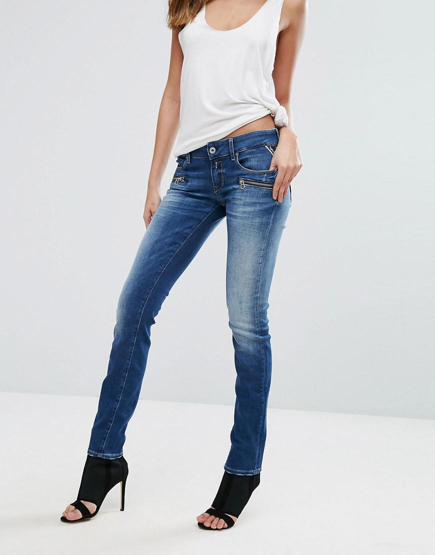 Boyfriend Jeans with Embellished Turn Up - 010 mid blue Replay IXuo3i