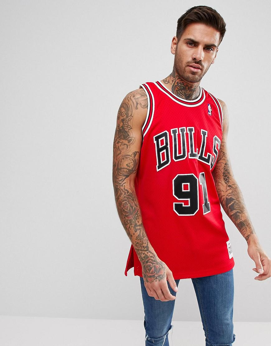 new concept f83cf 86dc5 Mitchell & Ness Nba Chicago Bulls Dennis Rodman Swingman Vest In Red for men