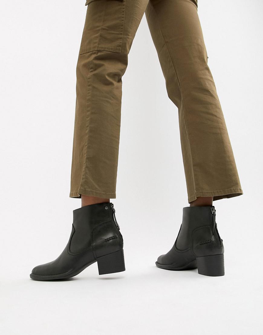 bb1c46b9eb1 UGG Bandara Black Leather Heeled Ankle Boots - Lyst