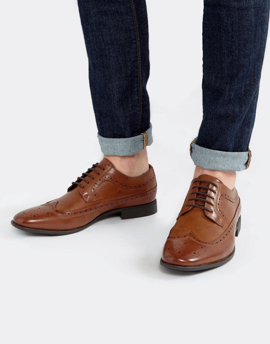 4a1d03f01cd3 ASOS Brogue Shoes In Tan Faux Leather in Brown for Men - Lyst