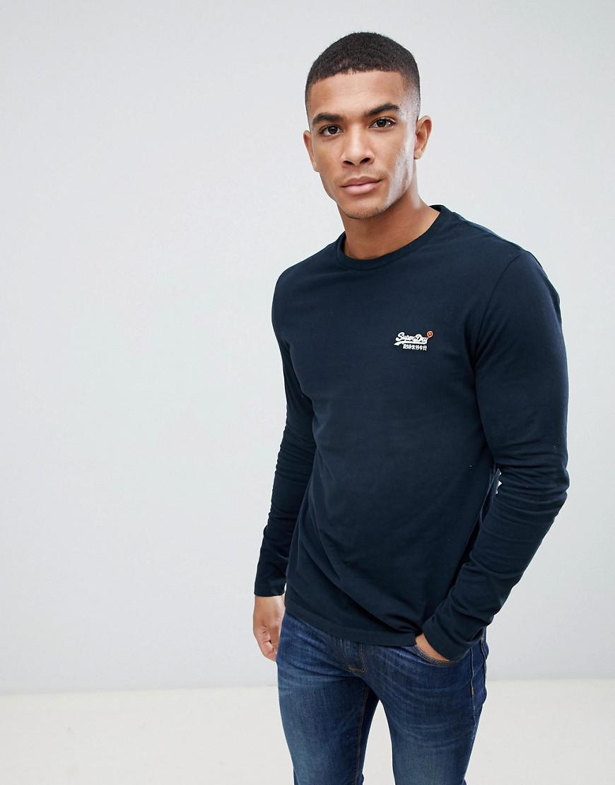 20466132842 Superdry Orange Long Sleeve Top With Embroidery In Navy in Blue for ...