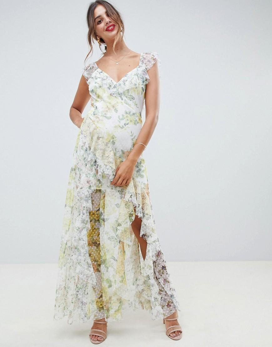 dcfd4e964cf ASOS Ruffle Maxi Dress In Floral Dobby Mesh With Lace - Lyst