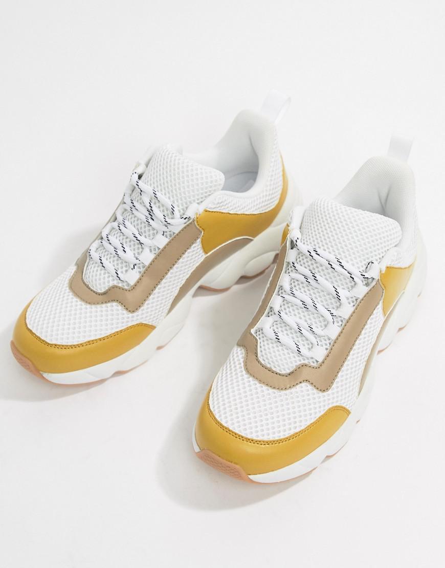 Monki Denim Chunky Sneakers In Beige