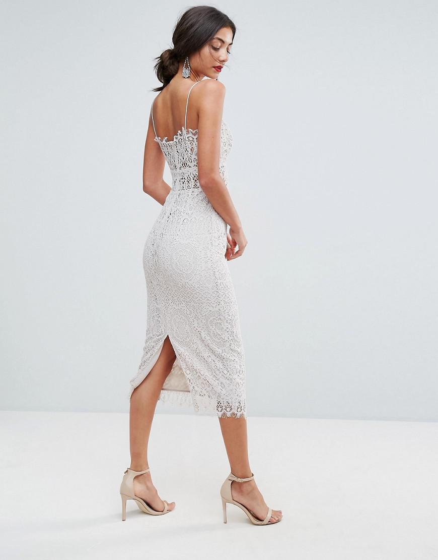 97669552d953d ASOS Lace Cami Midi Pencil Dress in White - Lyst