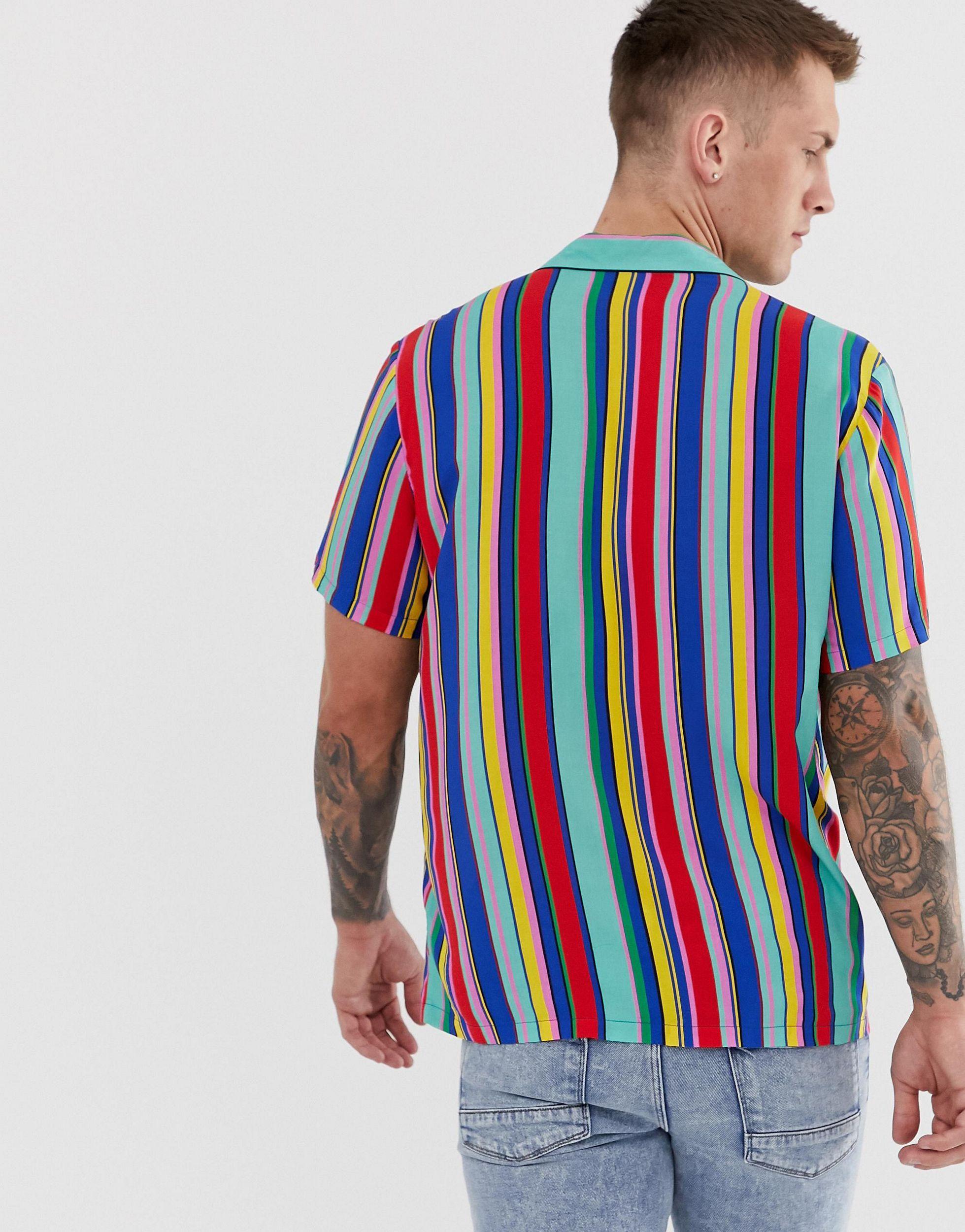 ASOS Synthetisch Ruimvallend Overhemd Met Regenboogstrepen in het Rood voor heren