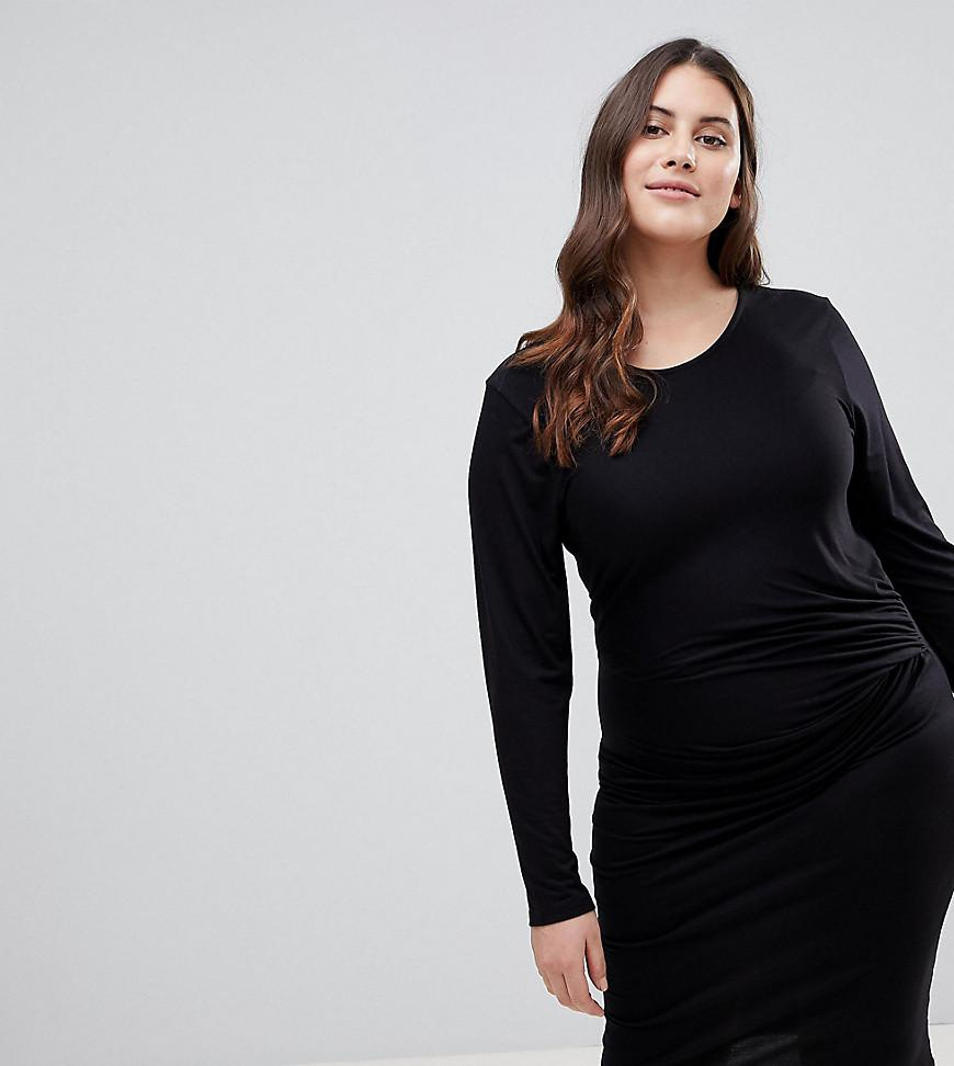 3e2561bcf7 Lyst - Lipsy Bodycon Midi Dress With Knot Front Detail in Black