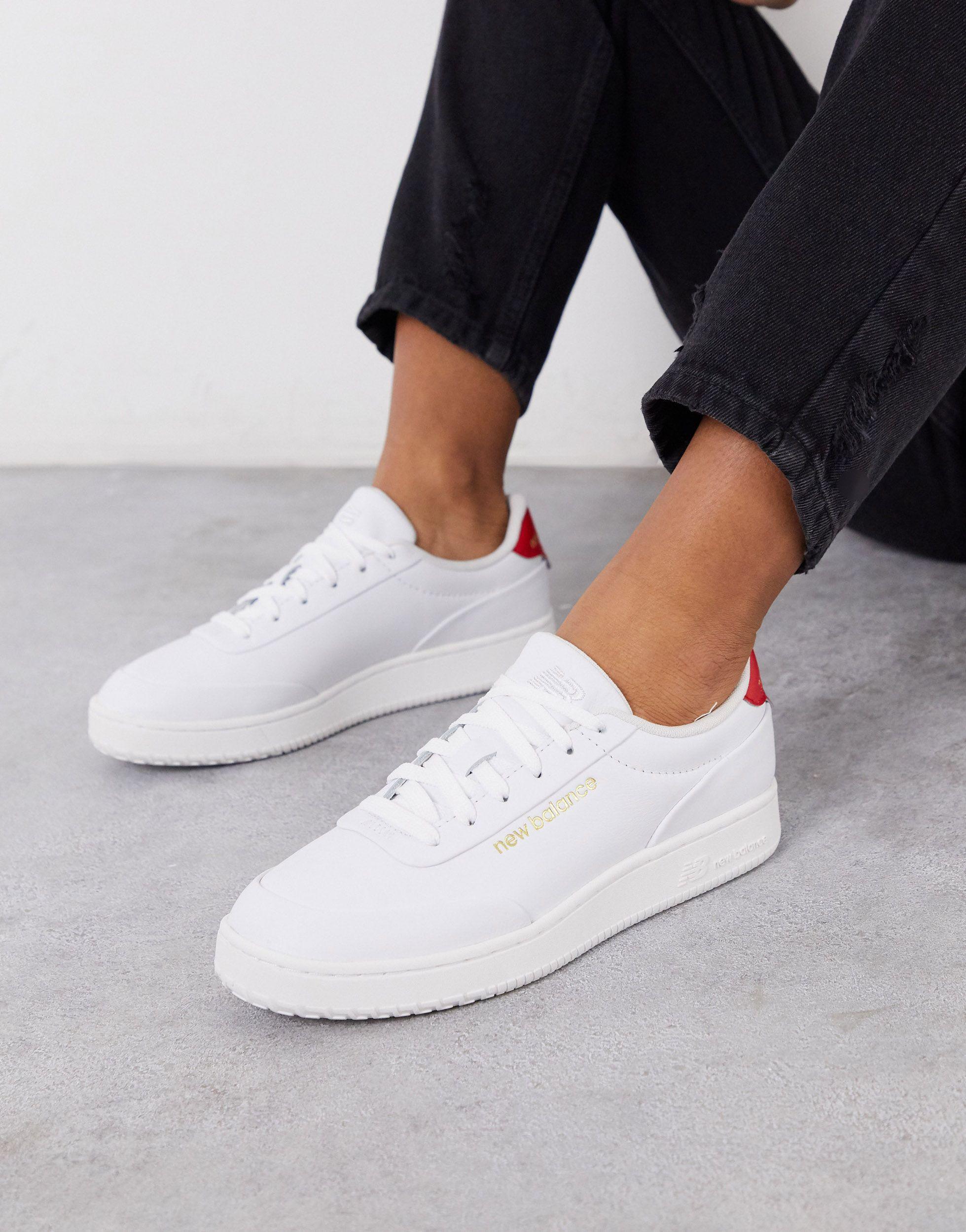 white new balance trainers